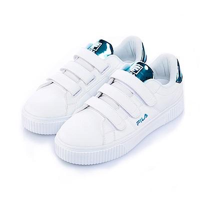 FILA #BOLD SHINY 女潮流復古鞋-飄鉑藍5-C601S-300