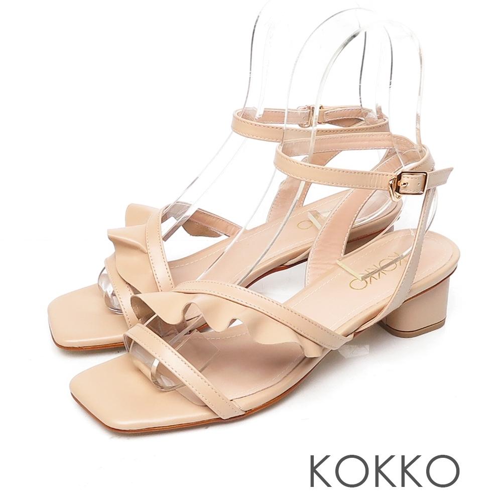 KOKKO裙擺搖搖方頭小羊皮荷葉邊涼鞋奶茶色