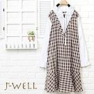 J-WELL 假兩件V領格紋小花領洋裝
