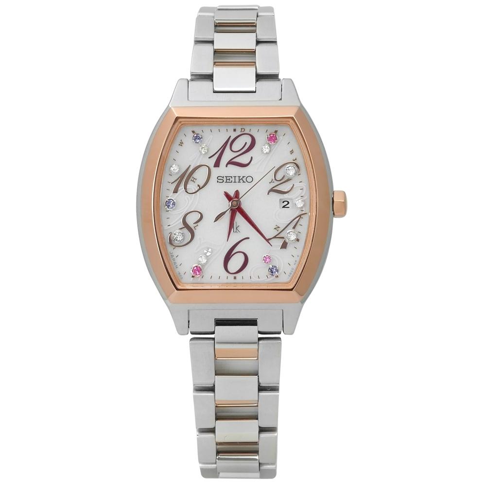 SEIKO 精工 LUKIA 施華洛世奇 太陽能 電波 不鏽鋼手錶-銀x鍍玫瑰金/27mm