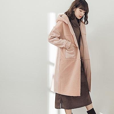 雙面穿麂皮絨拼接羔羊毛連帽大衣/外套-OB大尺碼