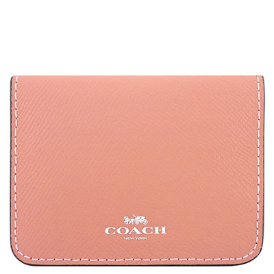 COACH 粉紅色防刮皮革證件名片短夾