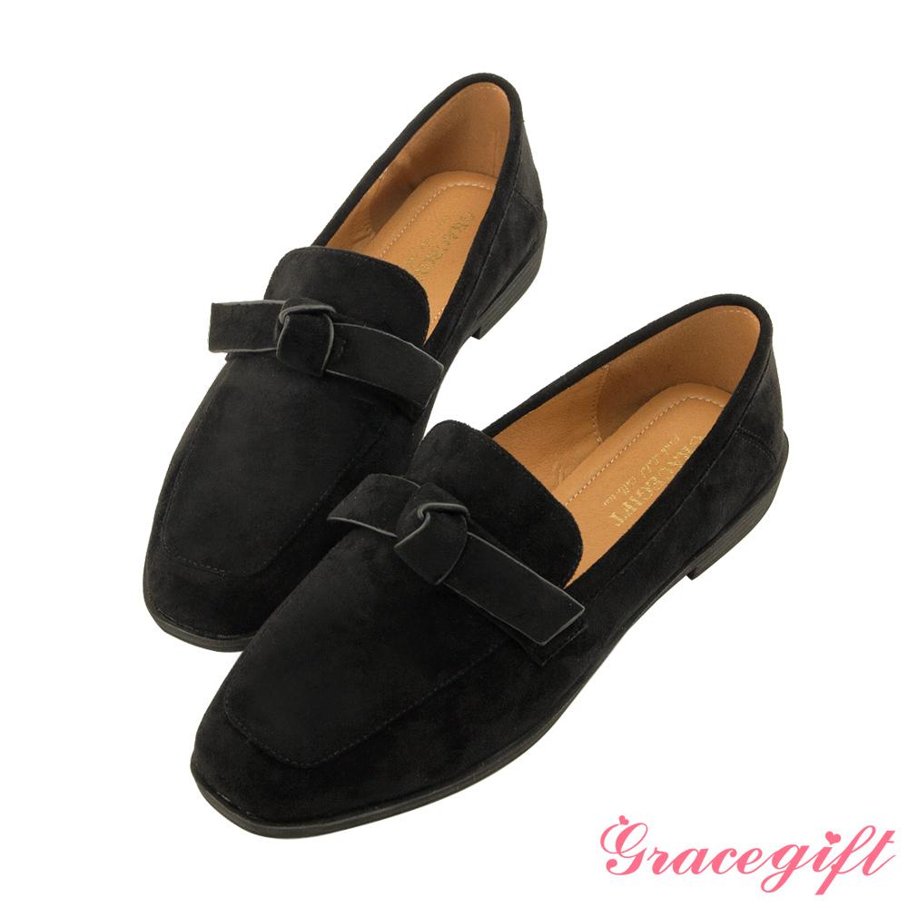Grace gift-絨面蝴蝶結樂福鞋 黑