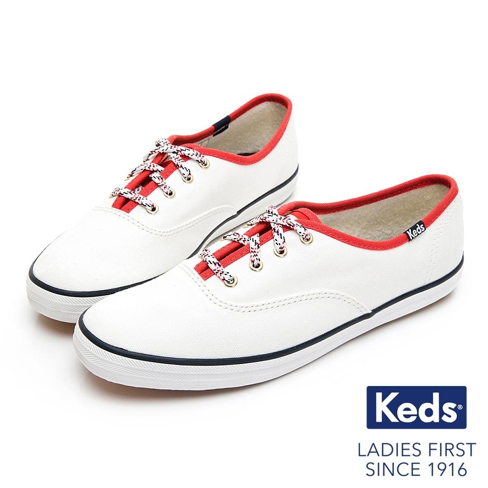 Keds CHAMPION 經典撞色滾邊綁帶休閒鞋-白