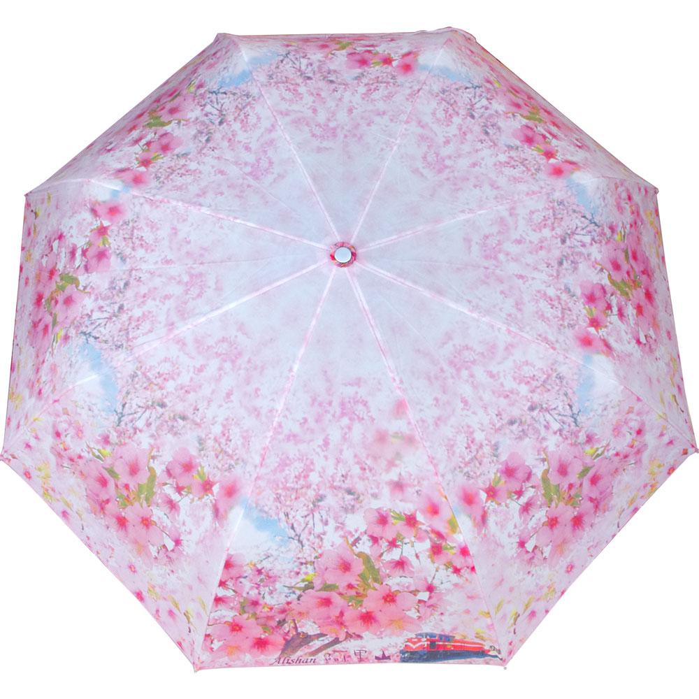 WEPON 阿里山風情櫻花三折自動傘一把(粉紅色)
