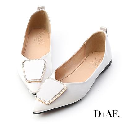 D+AF 華麗焦點.緞面鑽飾尖頭平底鞋*米白