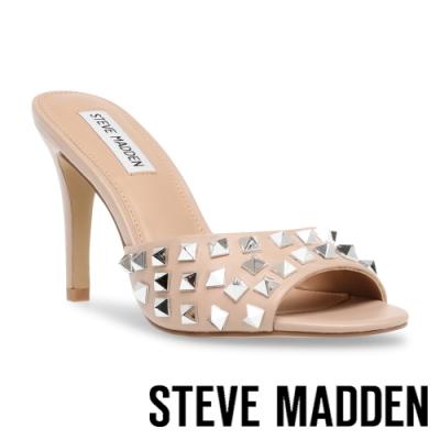 STEVE MADDEN-ERIN-S 鉚釘細跟高跟涼拖鞋-杏粉色