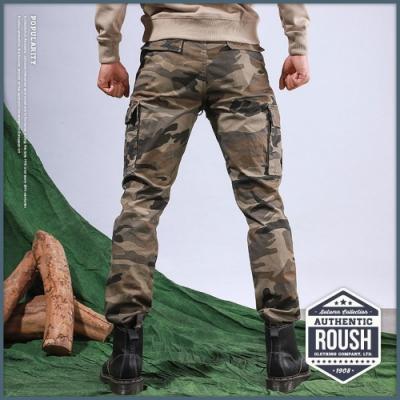 Roush (迷彩)高磅數雙口袋水洗工作長褲(3色)