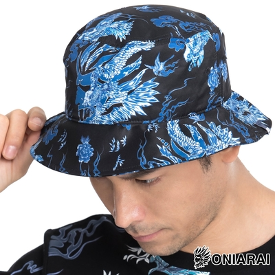鬼洗 BLUE WAY –藍摺繪滿版印花漁夫帽(黑)