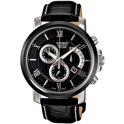 CASIO BESIDE 紳士都會三眼型男腕錶(黑) BEM-507BL