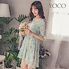 東京著衣-yoco V領蕾絲花邊拼接輕柔印花洋裝-S.M.L(共一色)