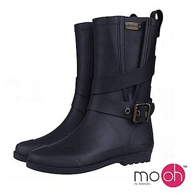 mo.oh愛雨天-英倫皮帶扣中筒時裝雨鞋-黑色