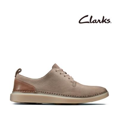 Clarks 步步清新 簡約復古精緻縫線設計休閒女鞋 灰褐色