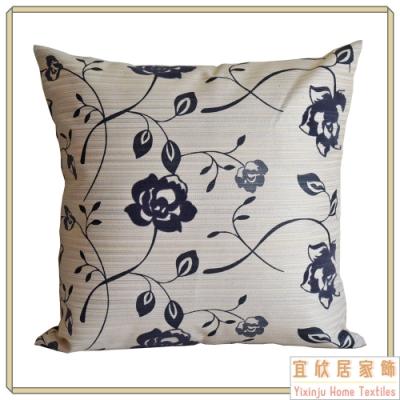 【宜欣居傢飾】愛戀薔薇-沙發絨布抱枕45*45cm- 灰藍 (枕套含枕芯2入) 台灣製