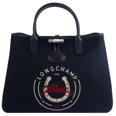 Longchamp Roseau Heritage藍色帆布賽馬圖騰雙造型手提包