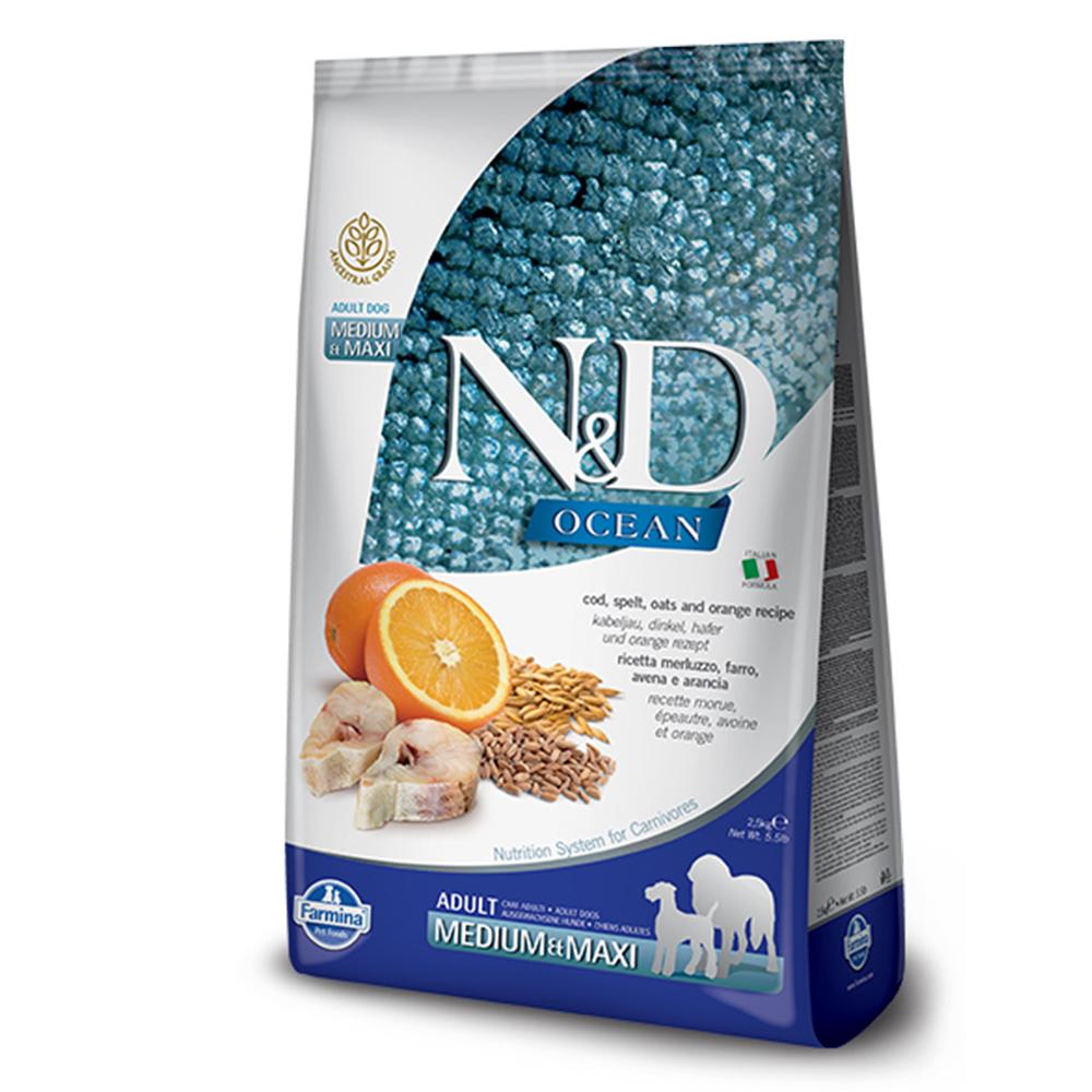 Farmina法米納 海洋低穀成犬糧-鱈魚甜橙-潔牙顆粒(OD-6)2.5kg 2包