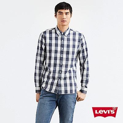 Levis 格紋襯衫 男裝 無口袋 藍白撞色