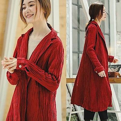 外套-高端樹紋亞麻中長版風衣-F8913-設計所在