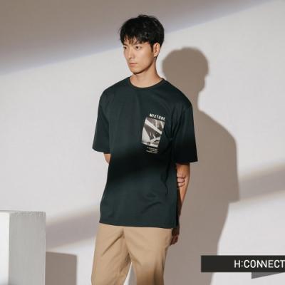 H:CONNECT 韓國品牌 男裝-正反圖印圓領短T-綠(快)