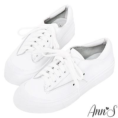 Ann'S餅乾家族-綁帶全真皮小白鞋