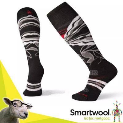 SmartWool 美麗諾羊毛 滑雪中級減震印花高筒襪(2入)_黑