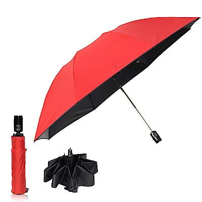 雙龍TDN 反向自動開收黑膠抗UV傘 -法拉紅