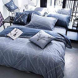 OLIVIA  波賽頓 藍 雙人全鋪棉床包冬夏兩用被套四件組 歐式枕套 200織精梳純棉