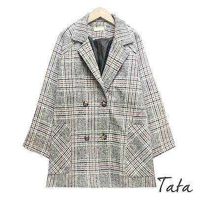毛呢格紋琥珀扣西裝外套 TATA-F