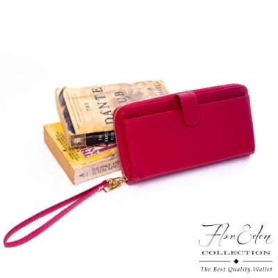 Flor Eden - 歐美極簡風尚真皮手拿拉鍊長夾-共2色