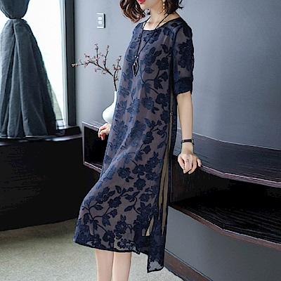 時尚仿真絲立體繡花寬鬆連衣裙S-2XL-REKO