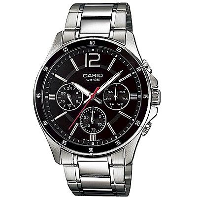 CASIO 低調奢華三針三眼風格不鏽鋼錶(MTP-1374D-1A)黑/44mm