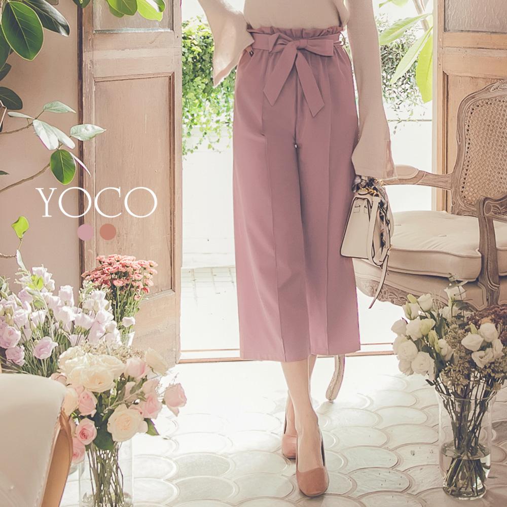東京著衣-yoco 柔美百搭綁帶寬褲-S.M.L(共二色)