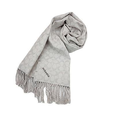 COACH 經典滿版LOGO純羊毛披肩圍巾-灰白格紋