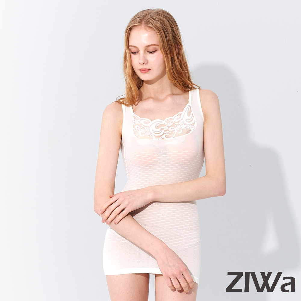 ZIWA 180D蕾絲織紋微塑纖體衣(白色)