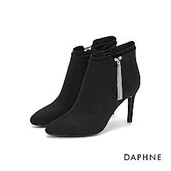達芙妮DAPHNE 短靴-奢華閃耀流蘇尖頭細高跟短靴-黑