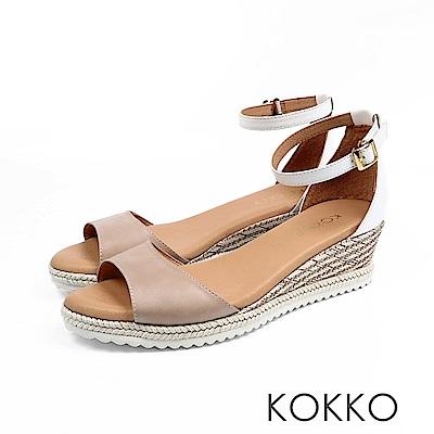 KOKKO - 裙擺搖搖草編全真皮超軟底涼鞋-杏仁白