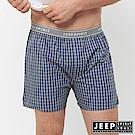 JEEP 五片式剪裁 純棉平口褲-藍紫格紋