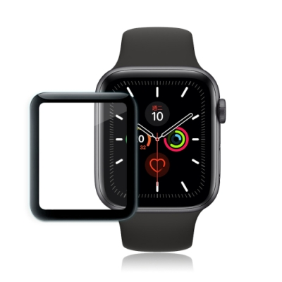 GLA Apple Watch Series 5 44mm全膠曲面滿版疏水玻璃貼 (黑)