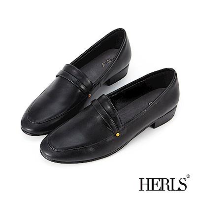 HERLS 溫柔素雅 內真皮鉚釘橫帶低跟樂福鞋-黑色 @ Y!購物