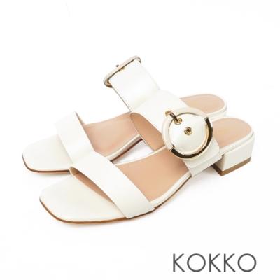 KOKKO方頭寬線條真皮粗跟涼拖鞋椰奶白