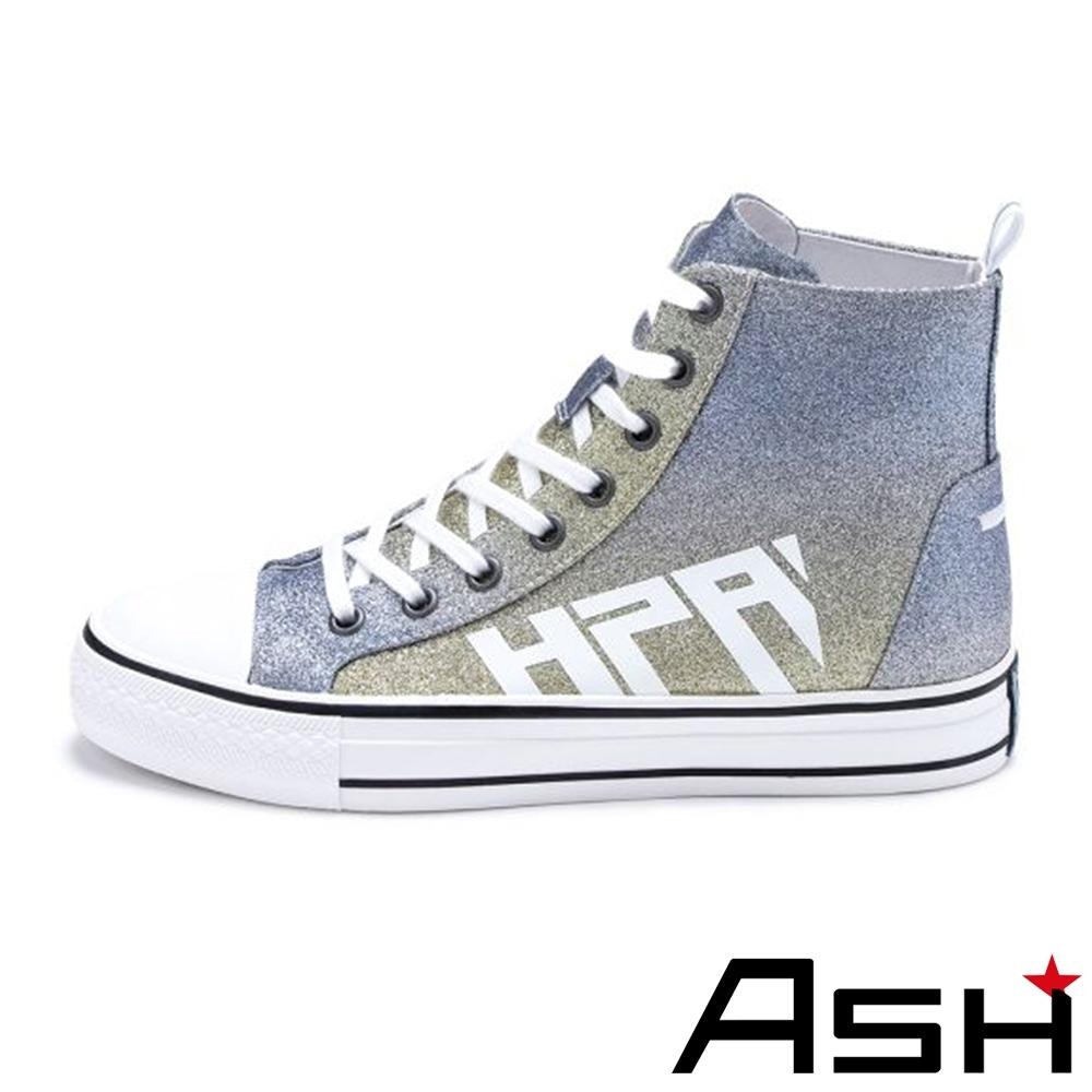 ASH-GLOVER時尚格利特炫彩亮片繫帶高筒增高帆布鞋-漸變藍
