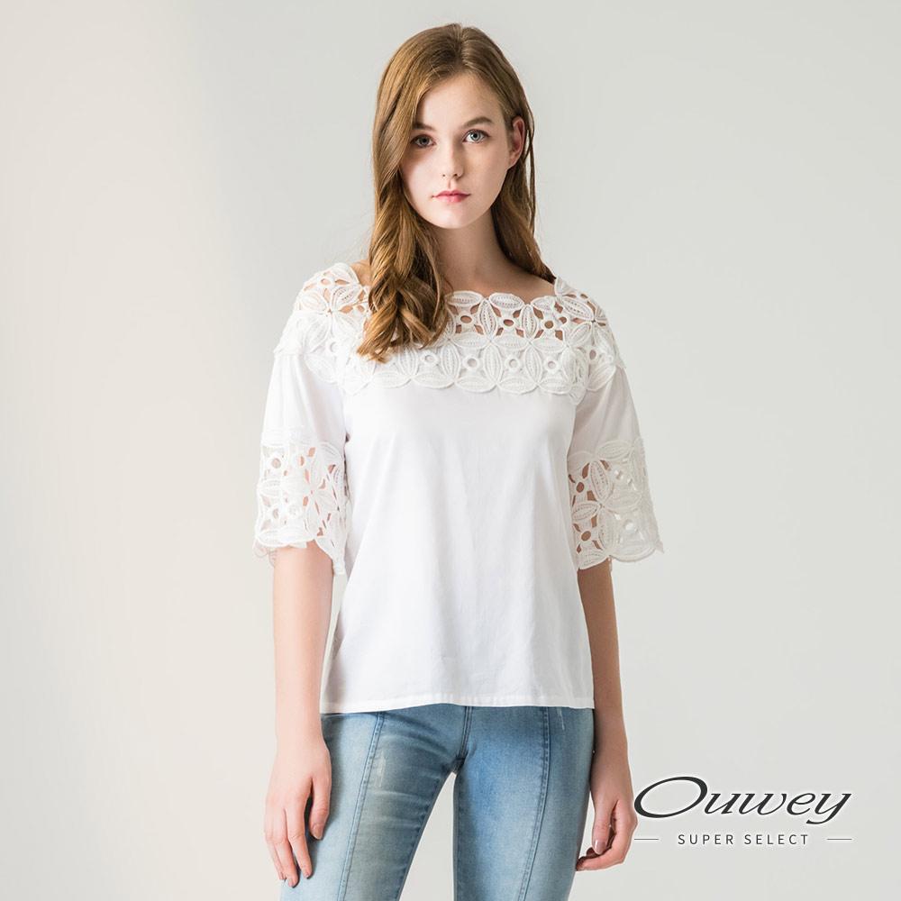 OUWEY歐薇 縷空蕾絲裝飾寬版棉質上衣(黑/白)