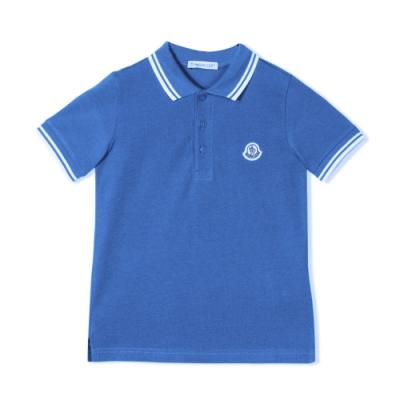 MONCLER 童裝寶藍棉質短袖polo衫