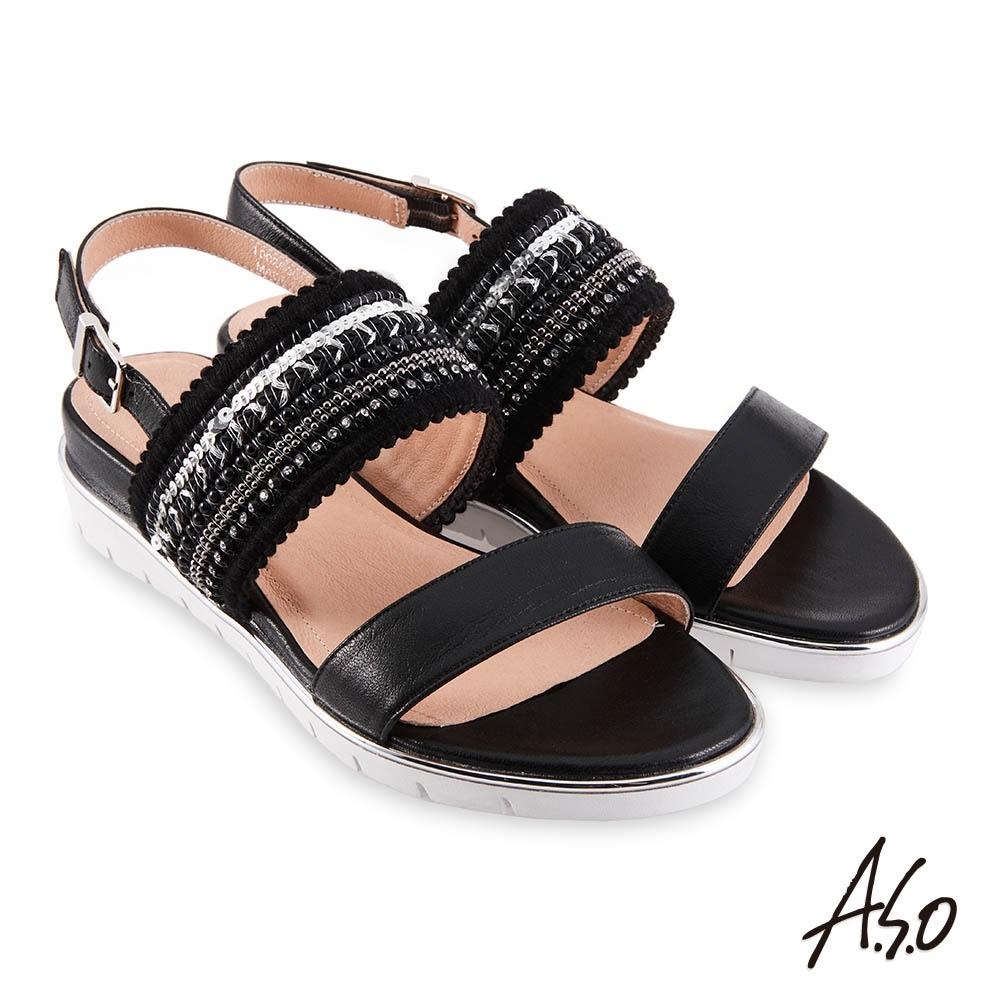 A.S.O 時尚流行 亮眼魅力異材質刺繡織帶休閒涼鞋-黑