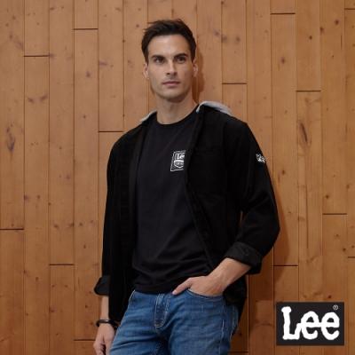 Lee 長袖襯衫 可拆棉帽拼接絨衣身 男 黑