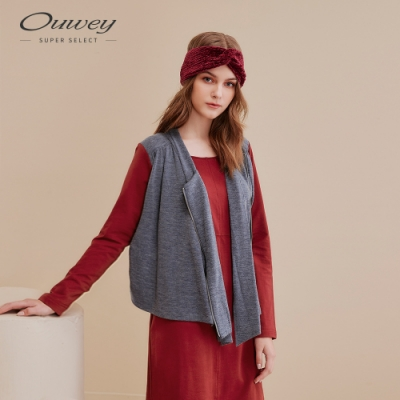 OUWEY歐薇 休閒感彈性假兩件洋裝(紅)
