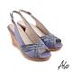 A.S.O 時尚流行 健步美型絨面羊皮條帶魚嘴楔型涼鞋-淺紫 product thumbnail 1