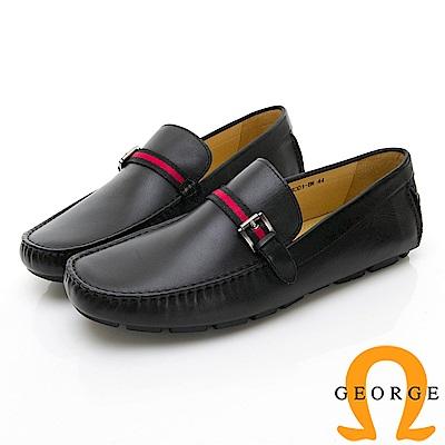 【Amber】悠閒時尚 素面綁扣飾樂福鞋-黑色