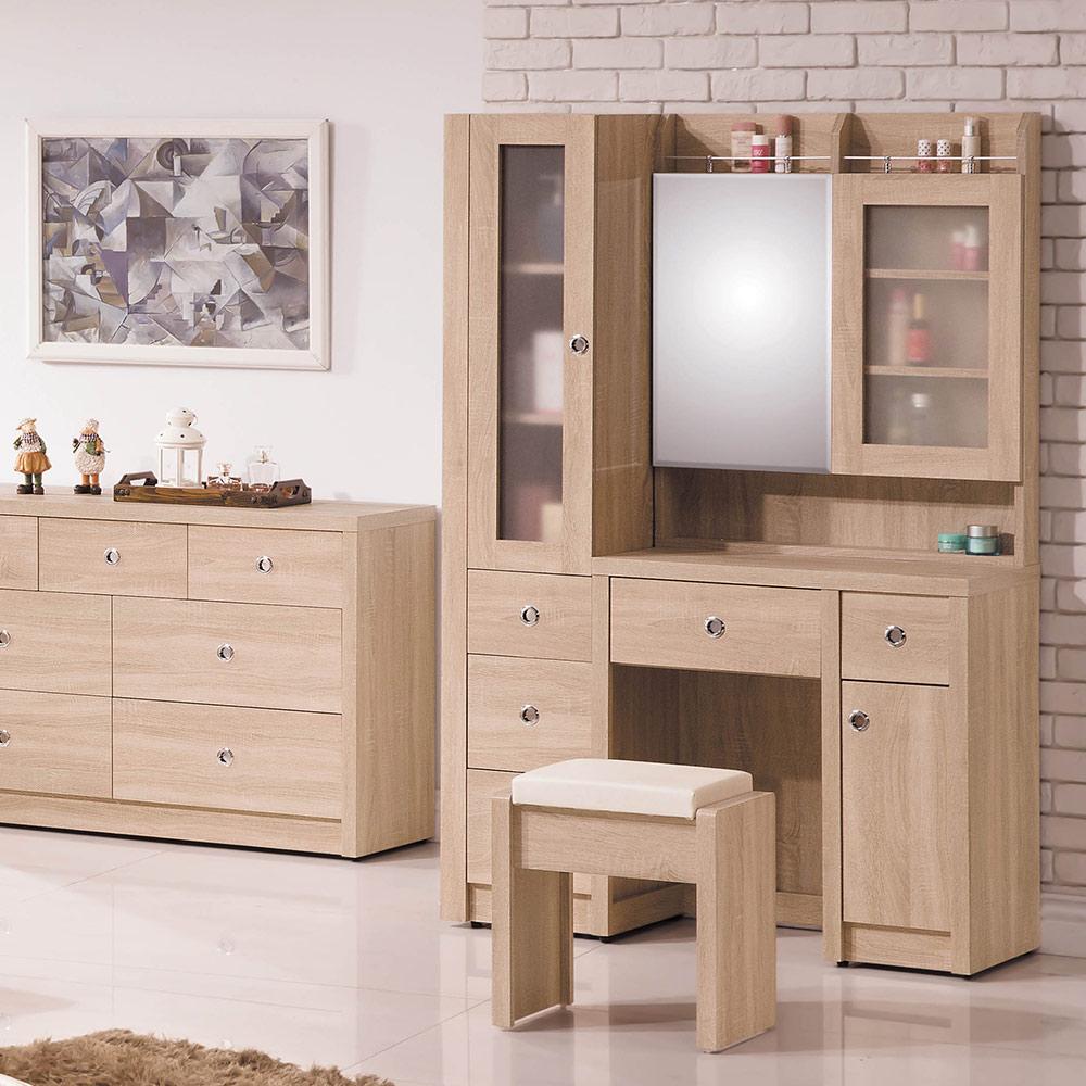 H&D 橡木3.5尺鏡台(含椅)