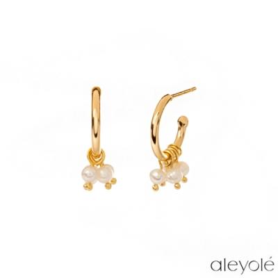 ALEYOLE 極簡圓圈珍珠925純銀鍍18K金耳環 BISOU GOLD
